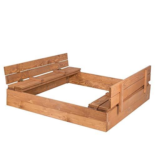 SPRINGOS Sandkasten mit Sitzbank|140 cm x 140...