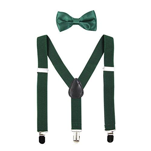 Hanerdun Kids Suspender Bowtie Sets Adjustable Suspender With Bow Ties Gift Idea For Boys And Girls, Dark Green, One Size
