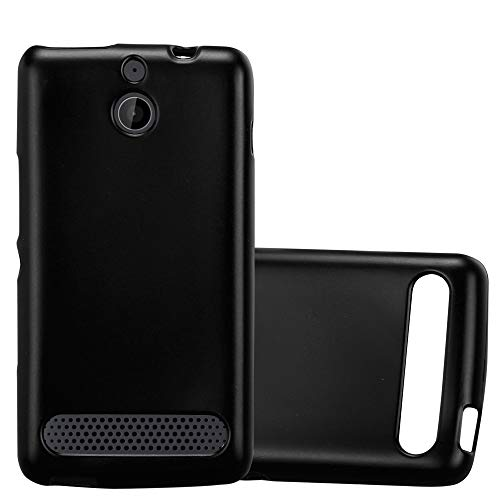 Cadorabo Hülle für Sony Xperia E1 - Hülle in METALLIC SCHWARZ – Handyhülle aus TPU Silikon im Matt Metallic Design - Silikonhülle Schutzhülle Ultra Slim Soft Back Cover Hülle Bumper