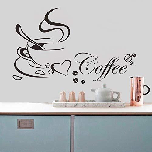 Koffie Beker met Hart Vinyl Quote Restaurant Keuken Verwijderbare Muurstickers DIY Home Decor Muur Art Mural Drop Verzending