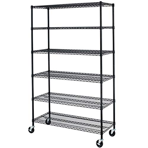 "NSF Wire Shelving Unit 6-Shelf Large Storage Shelves Heavy Duty Metal Wire Rack Shelving Height Adjustable Commercial Grade Utility Steel Storage Rack on 4"" Casters 6000LB Capacity-18x48x76,Black"