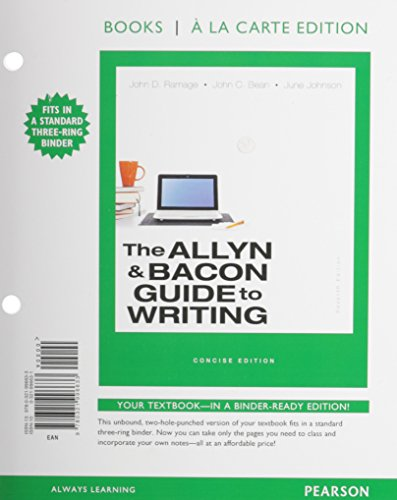 The Allyn & Bacon Guide to Writing, Concise Edition, Books a la Carte Edition (7th Edition)