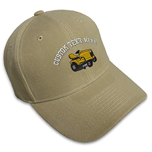 Custom Baseball Cap Riding Lawn Mower B Embroidery Cars & Transportation Trucks #2 Acrylic Hats for Men Women Strap Closure Khaki Personalized Text Here