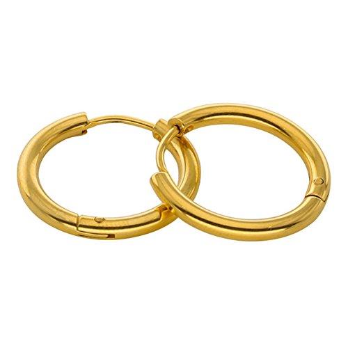 Lsgepavilion 1 Paar Edelstahl-Ohrringe, modisch, Punk, Kreis, Unisex, Pub, Club, Schmuck, Geschenk 2.5mm x 8mm goldfarben