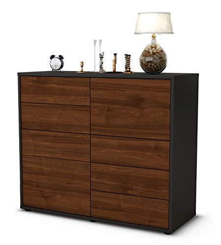 Stil.Zeit Sideboard Circe/Korpus anthrazit matt/Front Holz-Design Walnuss (92x79x35cm) Push-to-Open Technik & Leichtlaufschienen