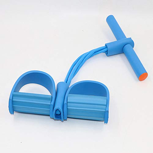 TAOMIAO Pedalwiderstandsband, 4 Röhrchen-elastisches Yoga-Pedalabzieher-Widerstandsband, für Bauch/Taille/Arm/Beindehnung Abnehmen Training,Blau