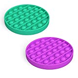 2 Pack Push pop pop Bubble Sensory Fidget Toy, Autism Special Needs Stress Reliever Silicone Stress Reliever Toy, Squeeze Sensory Toy for Kid and Adult Round Green Purple