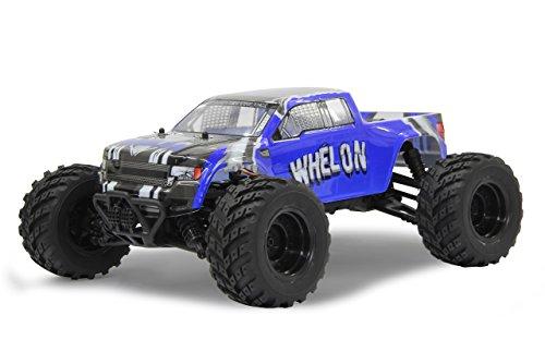 Jamara 53355 Whelon Monstertruck 0.05 4WD Li-Ion 2.4GHz, Allrad, Elektroantrieb, Akku, 35KMh, spritzwasserfest, gekapseltes Getriebe, Kugellager, Fahrwerk einstellbar, hochdrehender Motor,fahrfertig