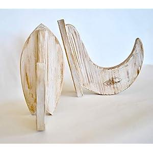 """Handgefertigte Holzständer für Surfboard und Snowboard – """"Fish"""" Modell – Shabby Chic-Finish"""