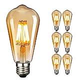 NUODIFAN - Lampadina a LED Edison E27, 6 x 8 W, vintage, dimmerabile, filamento a LED, in vetro ambrato (800 lumen, 2700 K), ideale per illuminazione decorativa con stile antico nostalgico