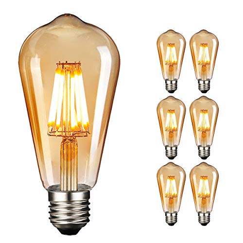 Retro LED Edison Glühbirne E27, NUODIFAN 6 x 8W Vintage Glühbirne Dimmbar LED Filament Birne Lampe Amber Glas (800 Lumens, 2700K) Ideal für Dekorative Beleuchtung mit Antike Nostalgie Stil