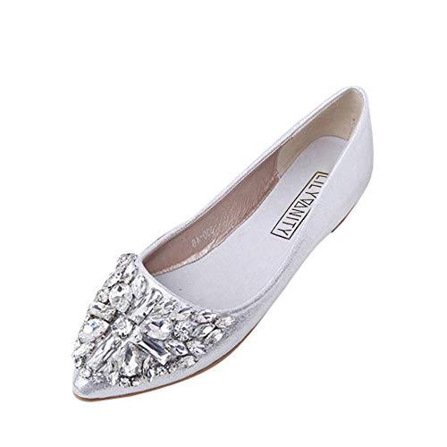 Womens Foldable Soft Ballet Flats Classic Square Toe Wedding Rhinestone Slip on Flat Shoes Sparkly Comfort Dress Flats Shoes