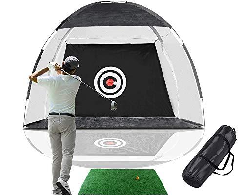 Rainlin Golf Net Golf Hitting Nets with Target Backyard Driving Range Swing Chipping Golfing Training Aids, Indoor Outdoor Golf Practice Net (10FT) with A Golf Hitting Mat