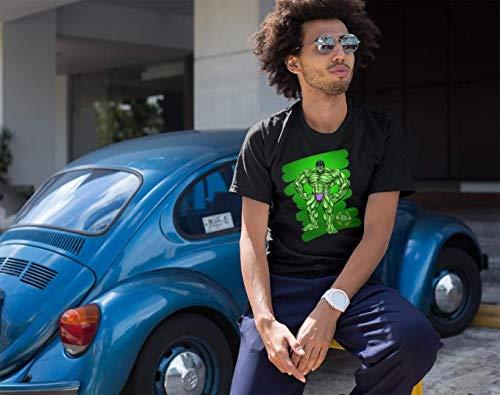 Okiwoki T-Shirt Noir MCU parodique Hulk : Concours Mister Universe - Les Rois de la gonflette - Candidat 33 (Parodie MCU)