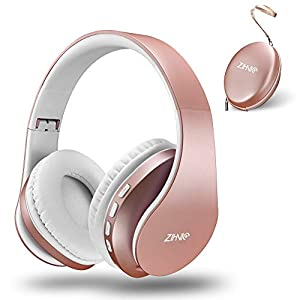zihnic Bluetooth Over-Ear Headphones, Foldable Wireless and Wired Stereo Headset Micro SD/TF, FM for Cell Phone,PC,Soft Earmuffs &Light Weight for Prolonged Waring (Rose Gold) from Zihnic