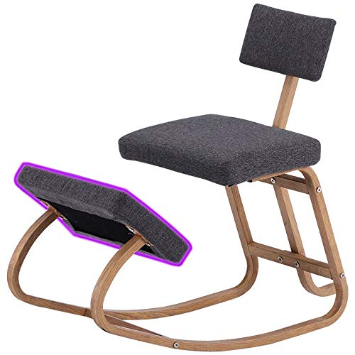 Home Office Ergonomic Kneeling Chairs Balance Kneel Stool Rocking Kneeling Chair for Perfect Posture Kids Children with Backrest (Color : Dark Grey Color)