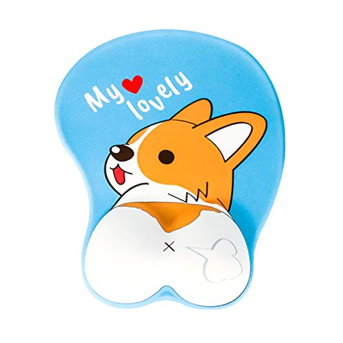 PTMD Mouse Pad with Wrist Support Ergonomic 3D Mousepad Anime Corgi Dog Mousepad Gaming Mouse Mat for PC Laptops