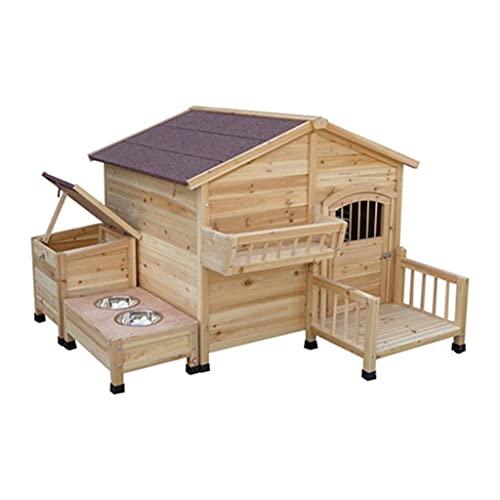 Casa para Perros de Madera al Aire Libre con Porche Tazón de Comida Almacén para Mascotas Cabaña de Troncos Estilo Perrera Resistente a la Intemperie Muebles para Mascotas para el hogar a Prueba de