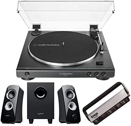 Audio Technica AT LP60X BK Turntable with Logitech Z323 Satellite Speaker System and Knox Gear product image
