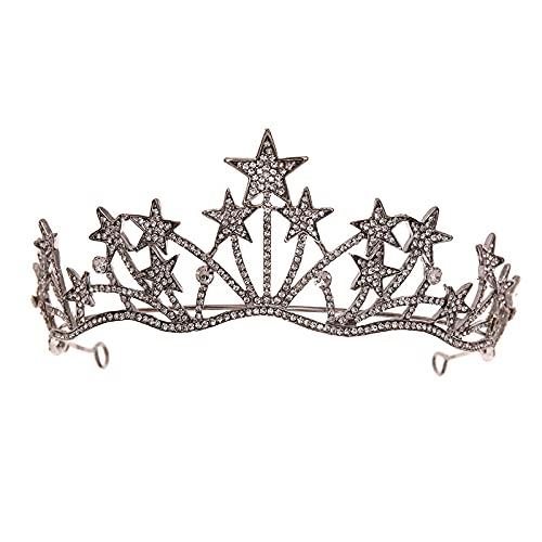 Chuanhao Bridal Stars Crown Headwear Luxury Rhinestones Inlaid Headband for Women Wedding Birthday Hair Accessories