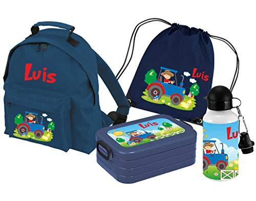 Mein Zwergenland | Personalisertes Kindergartenrucksack-Set | Kinderrucksack Classic mit Name | Lunchbox Maxi mit Name | Turnbeutel mit Name | Personalisierte Trinkflasche | Navy | Traktor Bauernhof