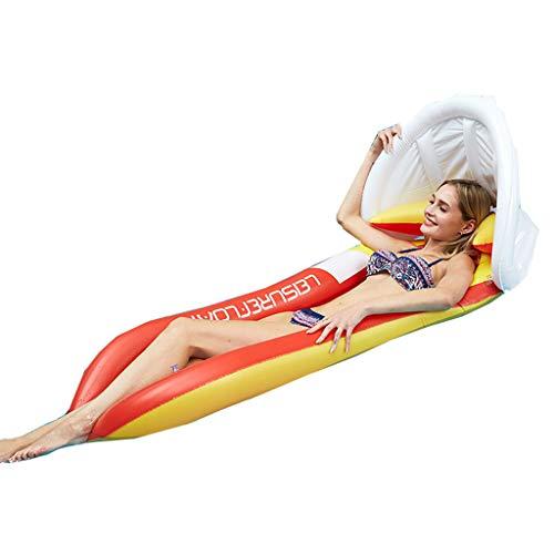 Toldo Inflable Cama Flotante, Engrosada y ecológica PVC Cama Inflable Flotante salón Piscina Lounge Chair-160 * 90cm (Rojo)