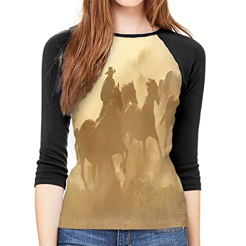 MeiShop Camisetas de Manga Tres Cuartos para Mujer Custom Western Galloping Running Horses In Desert Raglan T-Shirts Front Print Three Quarter Sleeve T-Shirts tee For Women