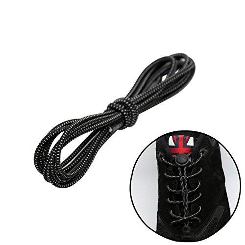 FALETO 1 Paar Elastische Schnürsenkel mit Schnellverschluss Schnellschnürsystem für einzigartigen Komfort, perfekten Sitz und starken Halt, Länge 100cm (Schwarz-weiß)