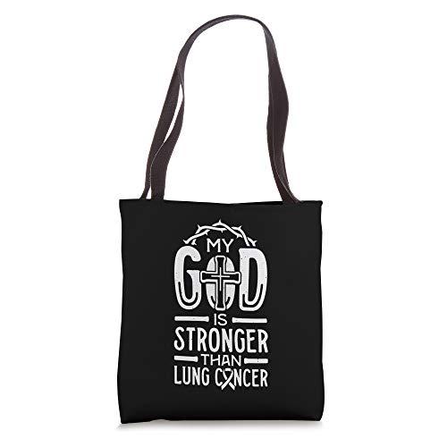 My God is Stronger Than Lung Cancer Survivor Bolsa de mano, 16 pulgadas, Blanco