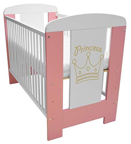 Best For Kids Gitterbett My Sweet Baby in 3 Farben mit oder ohne 10 cm Matratze aus Schaumstoff TÜV Zertifiziert Geprüft, Kinderbett Babybett rosa 4 Teile 120x60 (Rosa-Princess mit Matratze)