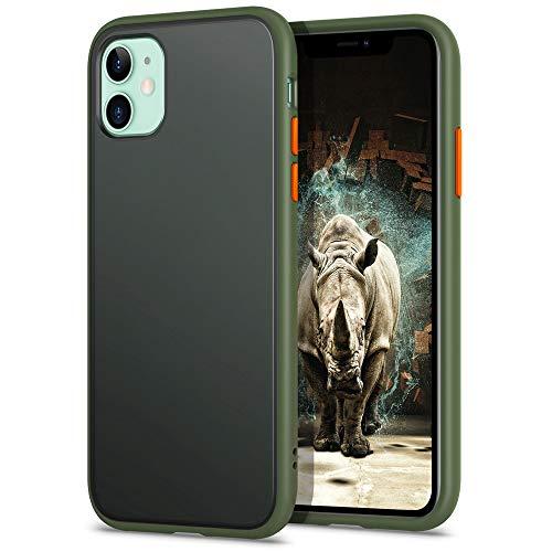 YATWIN Funda para iPhone 11(6,1), [Shockproof Style] Transparente Mate Case, TPU Bumper Rubber y Botones Coloridos, Carcasa Protectora para iPhone 11 2019 - Verde Noche