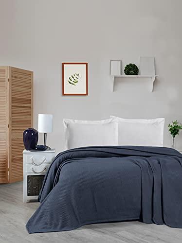 Tagesdecke, Pique leichte Sommerdecke aus 100prozent Baumwolle, Luftige Sofa-Decke vielseitig einsetzbar, Leicht zu pflegene Wohndecke, Baumwolldecke (Schwarz, 240 x 260 cm)