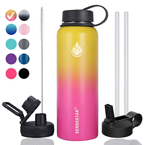 Sendestar 32 oz Double Wall Vacuum Insulated Leak Proof Stainless Steel Sports Water Bottle—Wide Mouth with Straw Lid & Flex Cap & Spout Lid (Yellow/Pink)