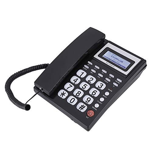 Teléfono con Cable con contestador automático, teléfono con Cable con Altavoz Pantalla LCD para el hogar para la Oficina(Negro)