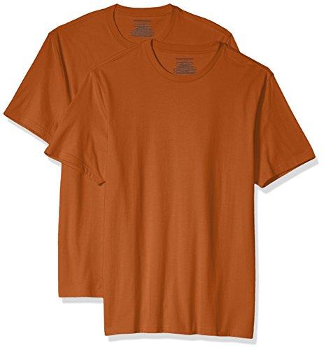 Amazon Essentials Men's 2-Pack Slim-Fit Short-Sleeve Crewneck T-Shirt, Orange Heather, Small