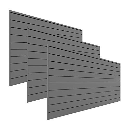 PROSLAT Garage Storage PVC Slatwall Panels -3 Packs of 8 ft. x 4 ft. Sections (96 sq.ft) (Light Gray)