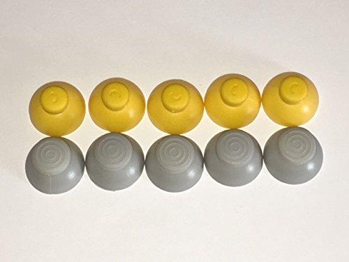 TBGS - 10 Piece Bundle Replacement Nintendo Gamecube Joystick Analog Stick Cap Covers (5 Gray Left Cap Covers + 5 Yellow Right Cap Covers)