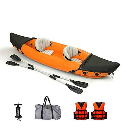 DIVTEK 2 Person Inflatable Kayak,Orange Boat Touring Kayaks Fishing Portable Water Sport Canoe with Aluminum Oars,Pump,Bag,2 Life Vests