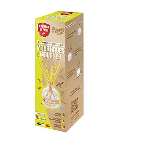 PROTECT EXPERT DIFNAT Diffuseur 60ml 12m² Répulsif Moustiques & Mouches Géraniol Efficace Moustiques Tigres Parfum Floral, Fabriqué en France