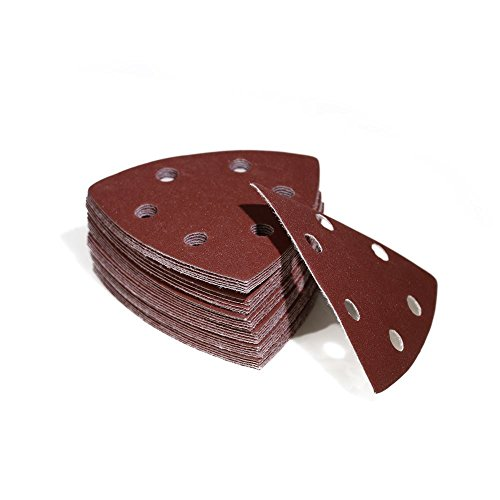 Woltersberger® 100 Stück Schleifdreiecke 93 x 93 x 93 mm   Körnung P80   für Deltaschleifer, vielseitig einsetzbar   Klett Schleifpapier Haft