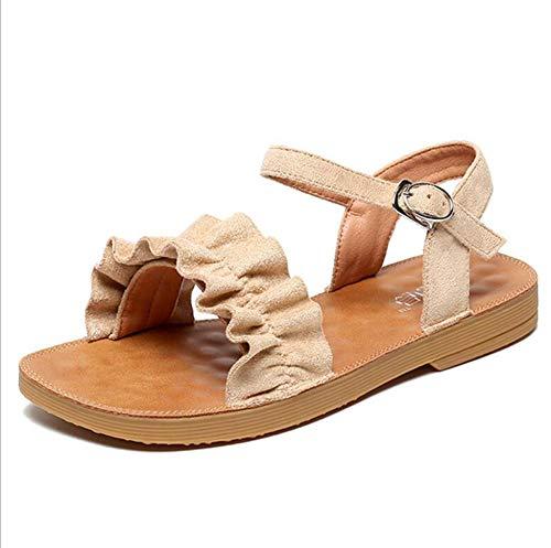AQTEC Frauen Sandalen, Flache Sandalen, Sommer Sling Back Wohnung Öffnen Toe Sandalen Einfach, Komfortabel Und Strandschuhe Kühlen,Apricot,38 EU