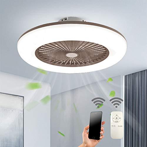 Deckenventilator Mit Beleuchtung LED-Licht Einstellbare Windgeschwindigkeit Dimmbar Mit Fernbedienung 32W Moderne LED-Deckenleuchte Für Schlafzimmer Wohnzimmer Esszimmer,Braun