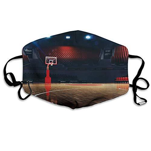 Bequeme Winddichte Maske, Basketball & # Xff0C; Bild der leeren Basketballplatz-Sportarena mit Holzbodendruck, Braun, Schwarz und Rot