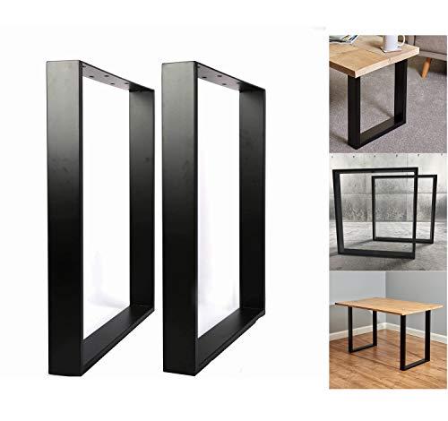 Nisorpa - Patas de mesa cuadradas de metal, color negro industrial, marco de mesa, patas de acero macizo, para muebles de oficina, 71 x 65 cm