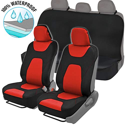 NeoCloth Waterproof Car Seat Covers Protector Full Set w/Back Bench – Heavy Duty Black/Red