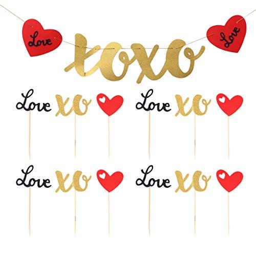 Amosfun 13pcs Bruiloft taart topper Banners Glitter Banner Cake Invoegen Liefde Thema Papier Letter Vlaggen Decor Layout Props Bunting Garland benodigdheden voor Valentijnsdag