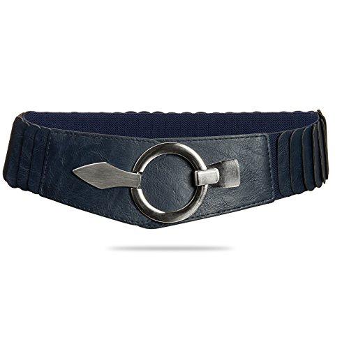 Caspar GU300 Cinturón Ancho Elástico para Mujer con Hebilla Plateado Elegante, Tamaño:75 [circunferencia 75-90 cm], Color:azul oscuro