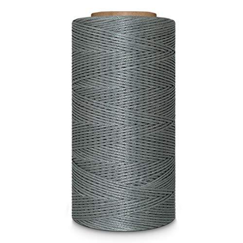 Leather Sewing Thread Stitching String - DIY Craft Flat Waxed Cord 284 Yards (Grey)