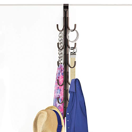 Lynk Over Door 12 Hook Rack Shirt Belt Hat Coat Towel Organizer Bronze