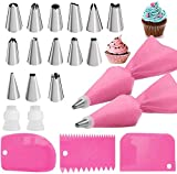 Pink Piping Bags and Tips Set,2 Reusable Silicone Pastry Bag with 14 Stainless Steel Nozzle Icing Tips Set, 3 Icing Smoother & 2 Couplers for Baking Decorating Cake Tool (21Pcs)